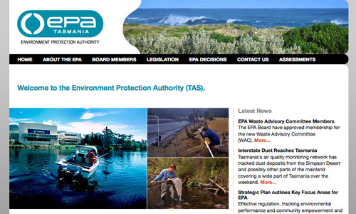 www.epa.tas.gov.au - image of website
